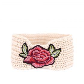 Dámská pletená čelenka Flowers Béžová