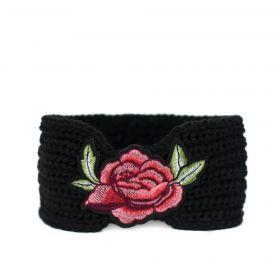 Dámská pletená čelenka Flowers Černá