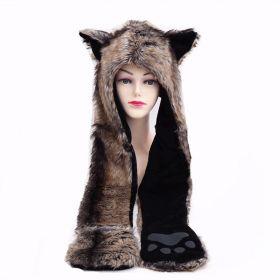 Zvířecí plyšová čepice animal - Vlk