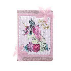 Plyšový zápisník deník s flitry A5 Unicorn Růžový