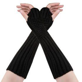 Dlouhé rukavice bez prstů Černé