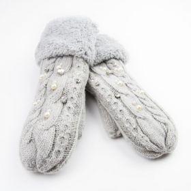 Dámské palčáky rukavice s krystaly Šedé