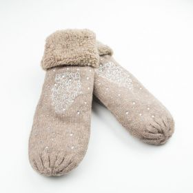 Dámské palčáky rukavice perly Floral Hnědé