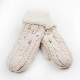 Dámské palčáky rukavice s krystaly Béžové