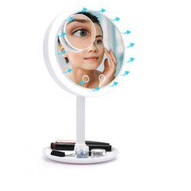 Kosmetické zvětšovací zrcátko s ventilátorem Bílé