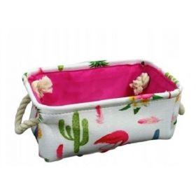 Lněný box na hračky Plameňáci kaktus S