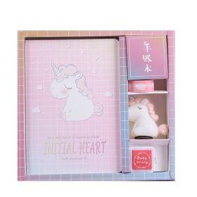 Zápisník deník s jednorožcem a razítkem Růžový