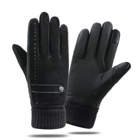 Pánské kožené zateplené rukavice DARK