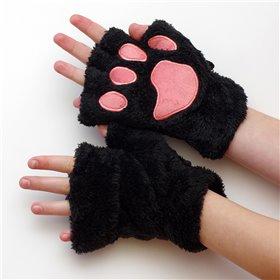 Plyšové rukavice medvědí tlapky Černé