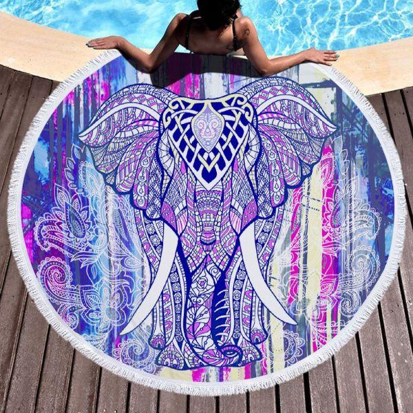 Kruhová plážová osuška Barevný slon