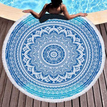 Kruhová plážová osuška Mandala blue