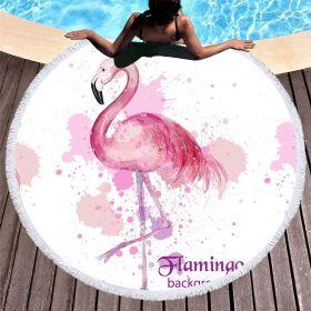 Kruhová plážová osuška Flamingo