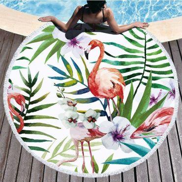 Kruhová plážová osuška Plameňáci palmy