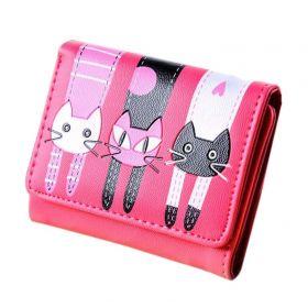 Dívčí peněženka s kočičkami Růžová