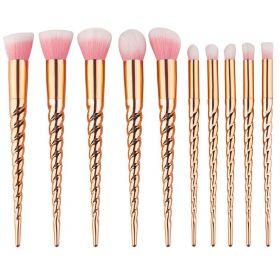 Sada kosmetických štětců 10ks Jednorožec Gold