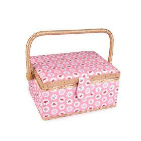 Čalouněný Košík na šicí potřeby Růžová