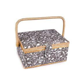 Čalouněný Košík na šicí potřeby Šedý ornament