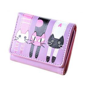 Dívčí peněženka s kočičkami Fialová