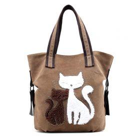 Dámská plátěná kabelka Cute Cats - tmavě šedá