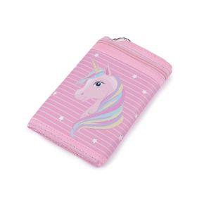 Dívčí látková peněženka s řetízkem Růžový jednorožec