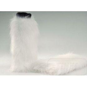 Návleky na nohy z umělé kožešiny - 32cm - bíle