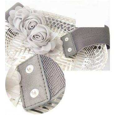 Elastický černý dámský pásek kytička